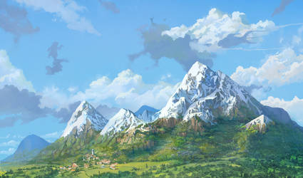 a few mountains ghibli style by TylerEdlinArt
