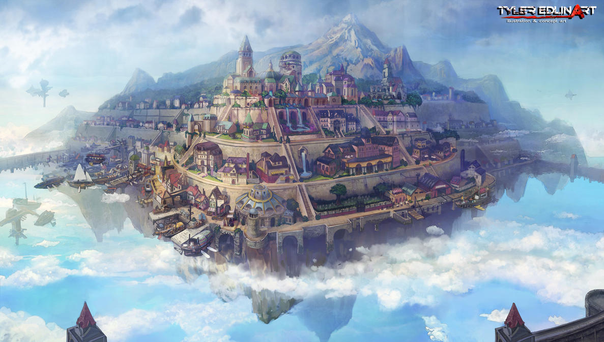 floating city kerris by TylerEdlinArt
