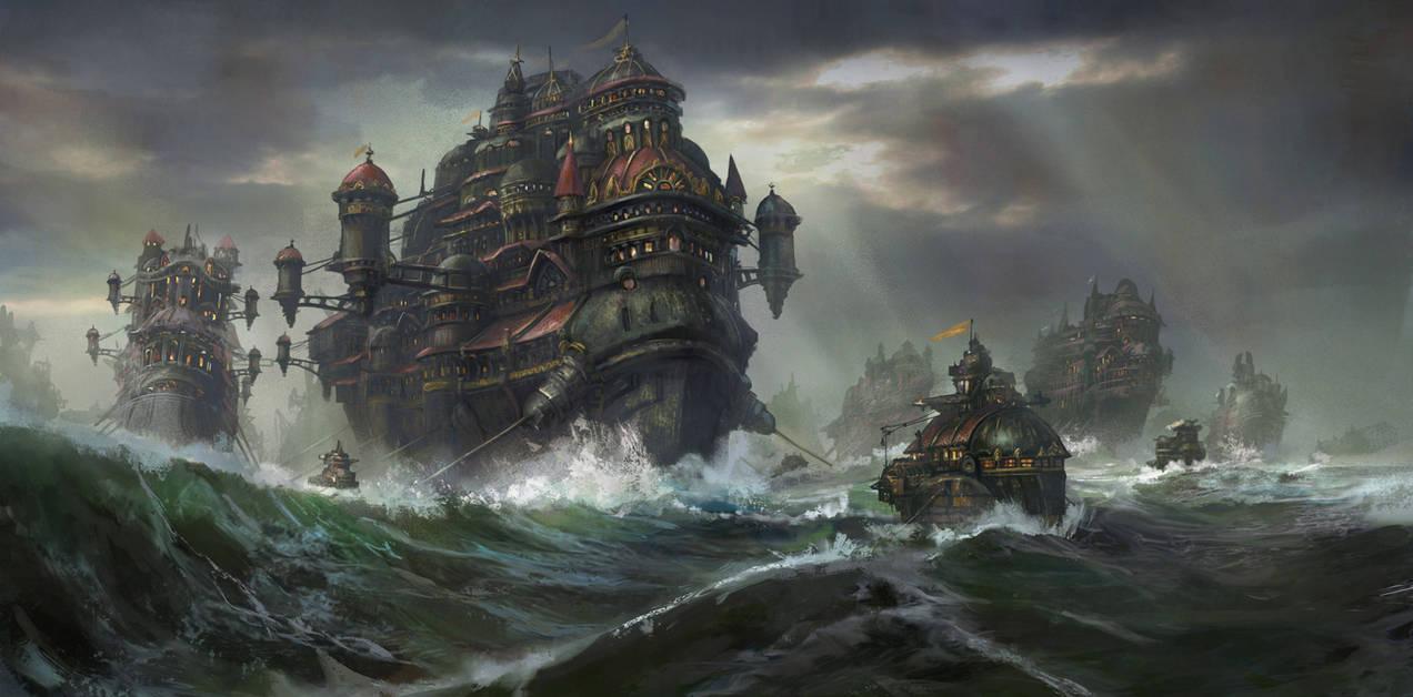 Kodran Migrant Fleet by TylerEdlinArt