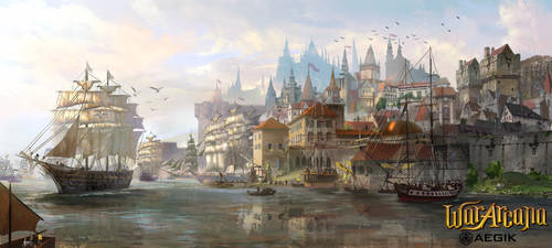 Port city by TylerEdlinArt