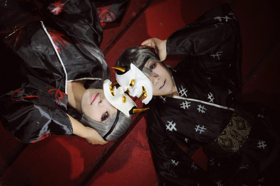 Mask of hannya: Rin and Len by Mm-miyoko