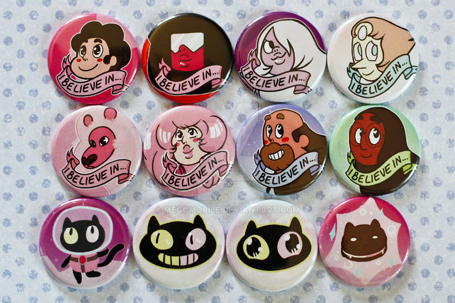 Steven Universe And Cookie Cat Button Sets Done By Megomobile
