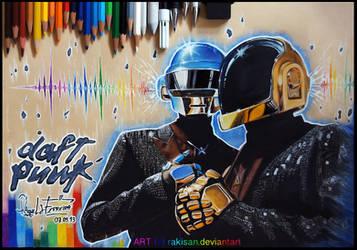 Daft Punk -colored pencil-