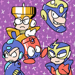 Mega Man one two three four by kenshinmeowth