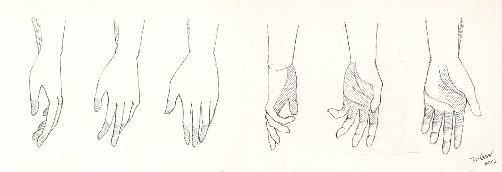 the practice of drawing hands by taileendenvers on deviantart