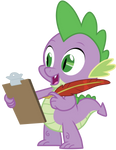 Spike has a clipboard...