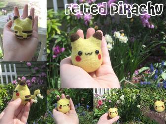Felted Pikachu by xxNostalgic