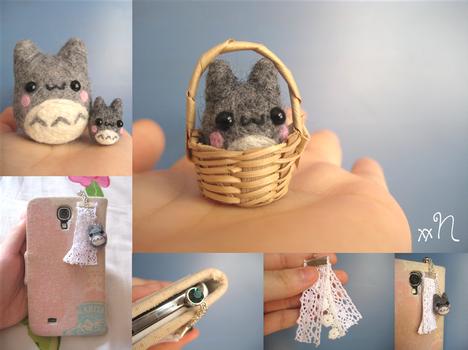 Miniature Felted Totoro Phone Charm