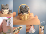 Miniature Felted Totoro Phone Charm