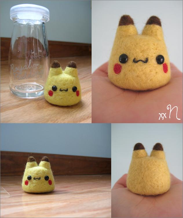 Felted Pikachu Pudding by xxNostalgic