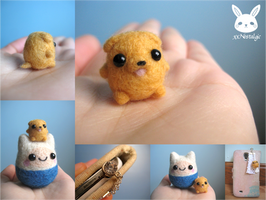 Miniature Felted Jake the Dog Phone Charm
