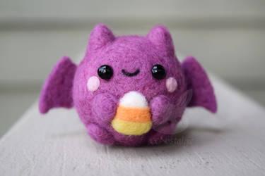 Felted Candy Corn Bat