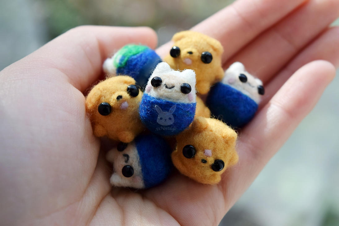 Mini Felted Finn and Jake by xxNostalgic