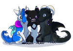 Commission- TheFuzzDragon-Trio of Floof by SkipSkid