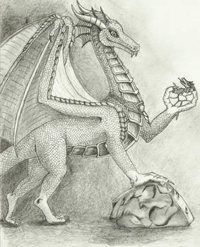 female dragon with baby