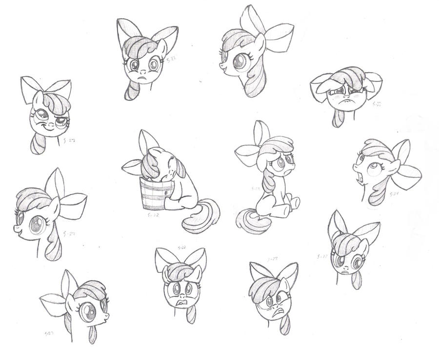 Apple Bloom Faces by Nimaru
