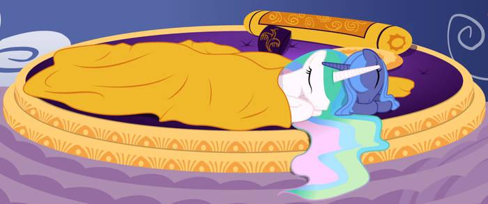 Luna and Celestia Sleeping