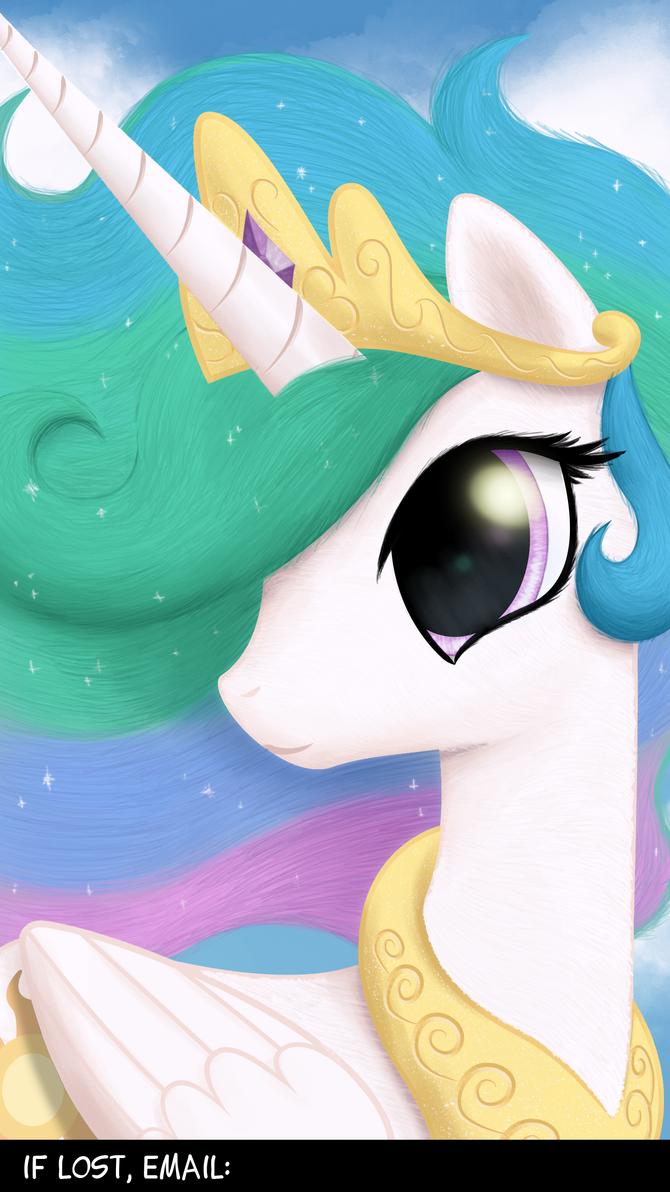 Princess Celestia 1440x2560 Lockscreen Wallpaper by Nimaru