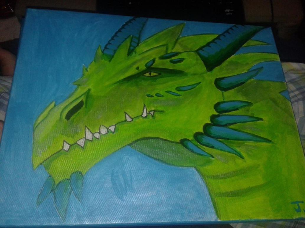 Green/Blue Dragon Painting 2 by AzaleaSnape