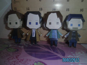 Dean, Castiel, Sam and Bobby Papercrafts by princess6590