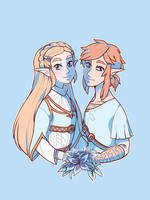 Breath of the Wild Zelda and Link by thepoecatcher