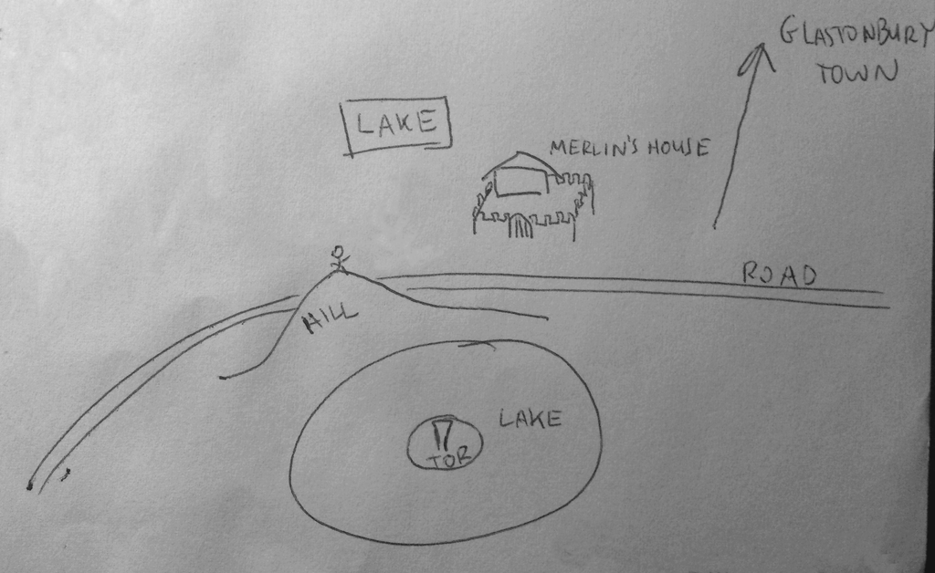simple map of where Merlin's house and the lake is