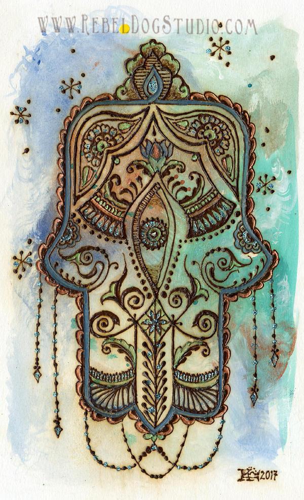 Turquoise Khamsa by RebelDogStudio