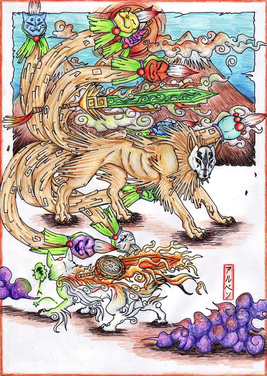 Okami Versus Nine Tails by ARVEN92