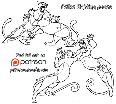 Pose Reference: Fighting Felines + DLC