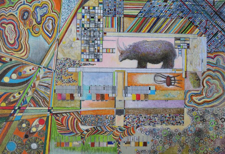 Fur rhinoceros in onyx elevator by thesvetislav