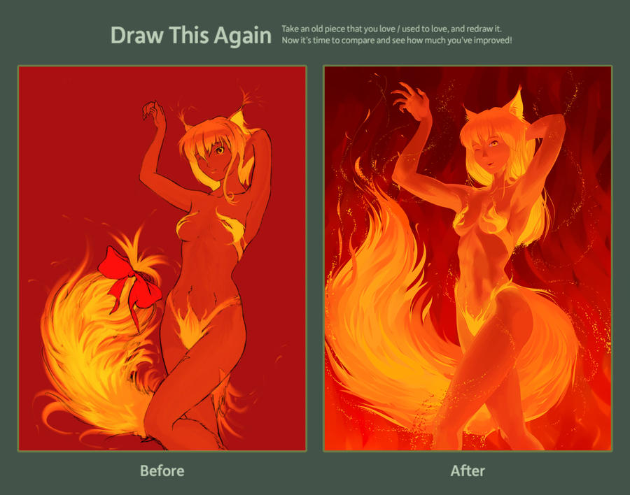 Draw this Again Kitsune - Fire fox by GRafuk