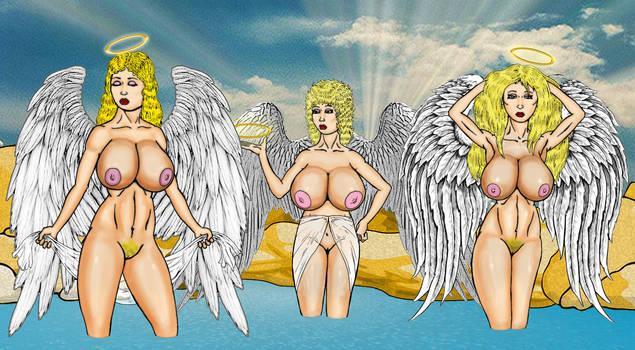 Naked Angels Enjoying A Bath by Grey-Garou