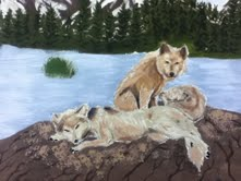 lookie at my wolf painting i did! (it a fail) by JesusFreakUS