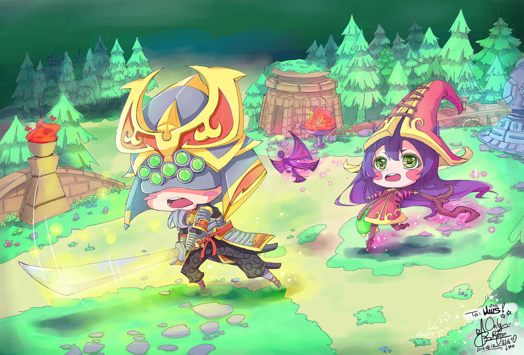 chibi master yi and lulu league of leguend by ofullmoon
