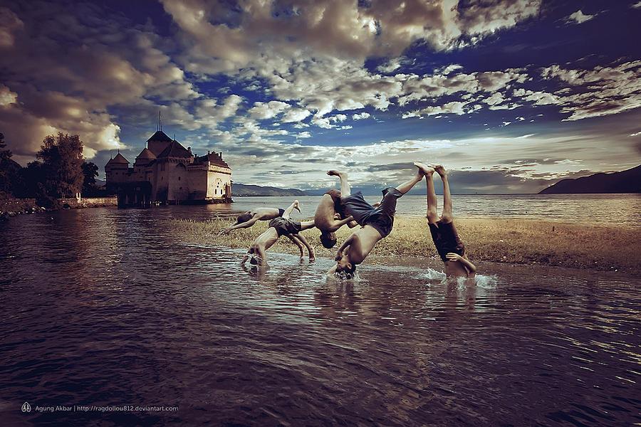 Kids in the lake by ragdollou812