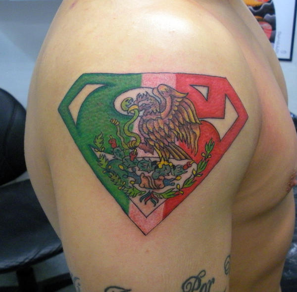 Mexican superman by painlessjames on deviantart for Mexican pride tattoos