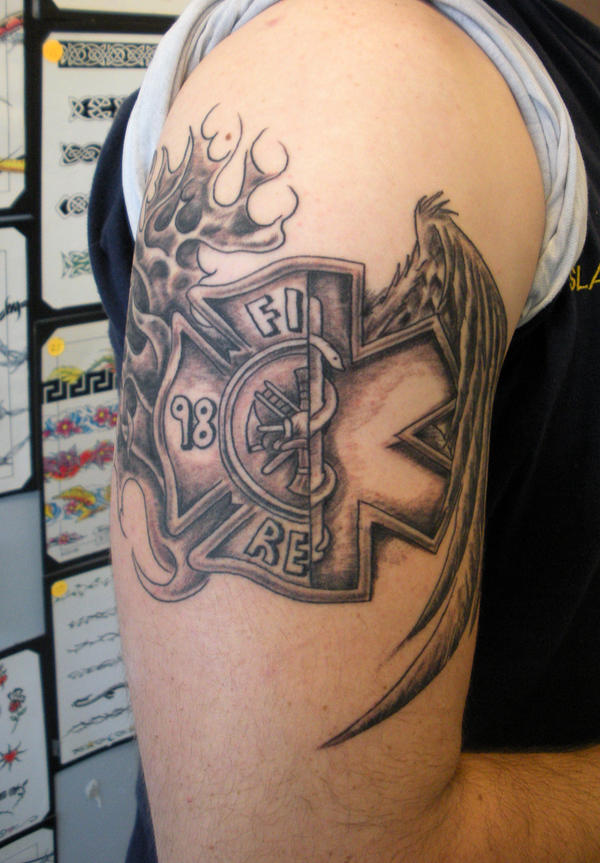 Cross On Fire Tattoo