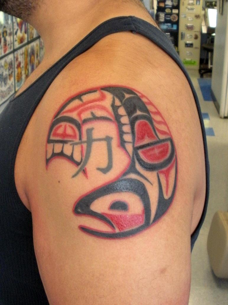Native alaskan salmon by painlessjames on deviantart for Tattoo of ak
