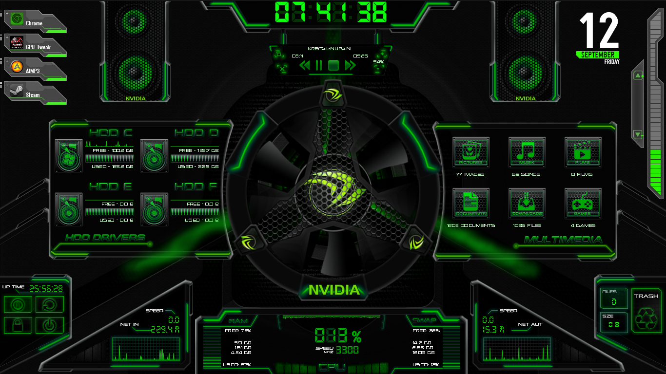 Asus rog rainmeter edited to nvidia by bigheadlover on for Deviantart rainmeter