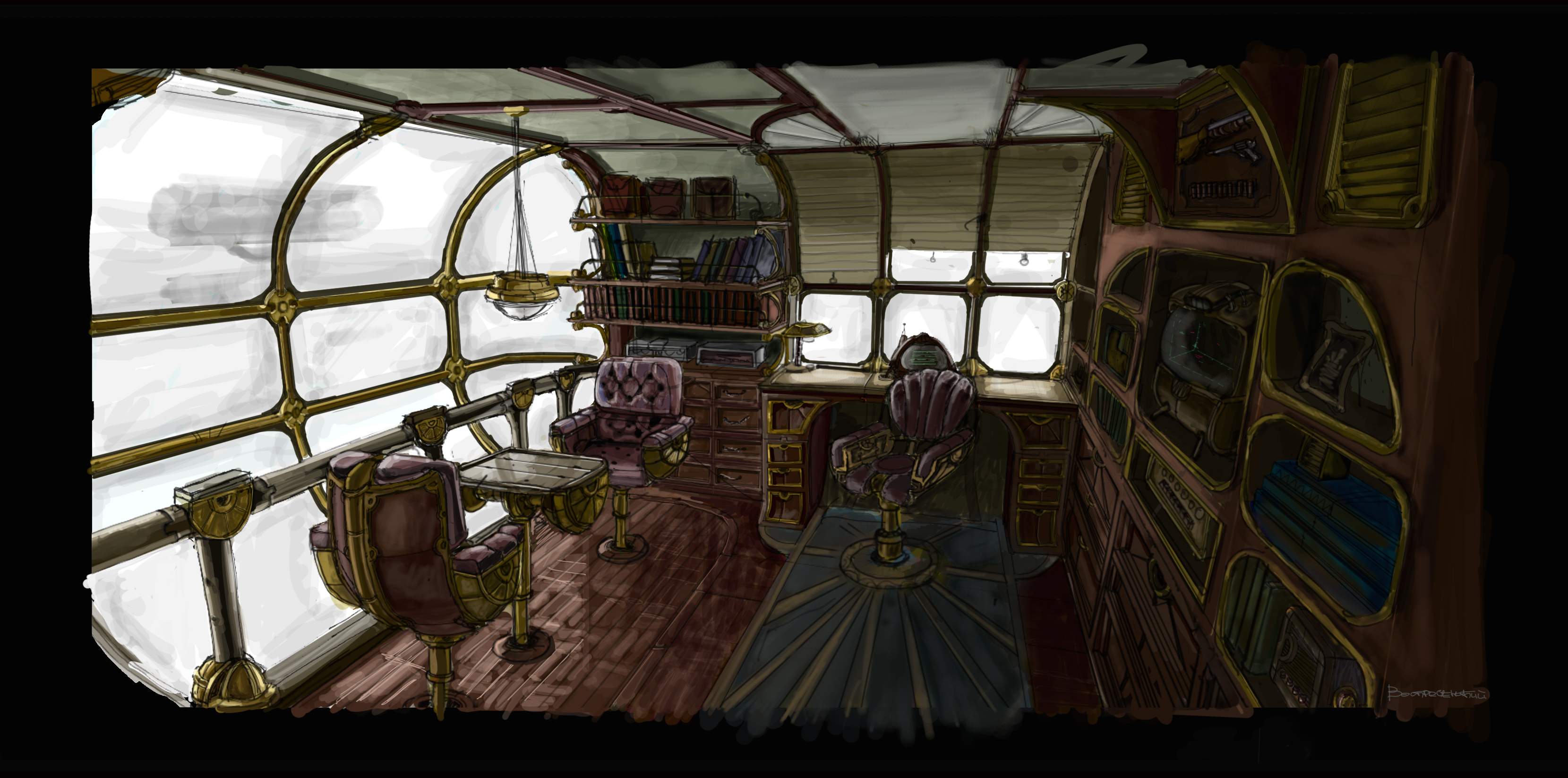 Steam airship interior by voskresenski on deviantart Steampunk interior