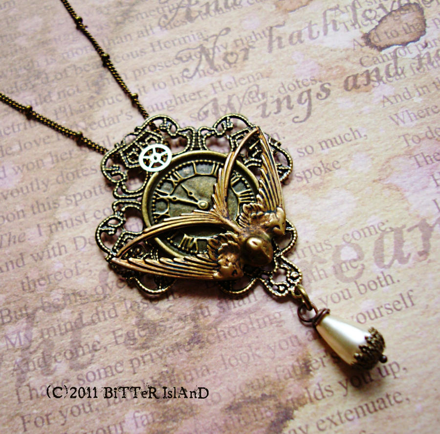 Steampunk Nightingale Pendant by LaOubliette