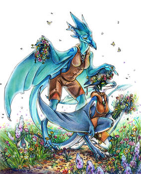 Wyvern and flowers