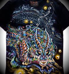 Textile painting. Noodle dragon