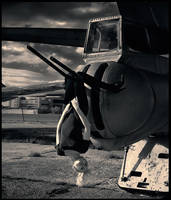 Natasha and the military plane by photoport