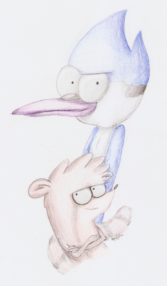 Mordecai and Rigby by Agussska