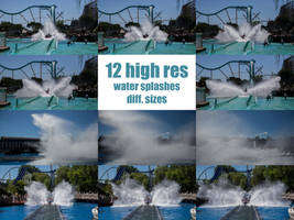 12 water splashes different sizes