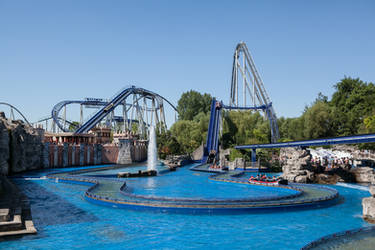 Europapark 049 rollercoaster tracks water boat by ISOStock