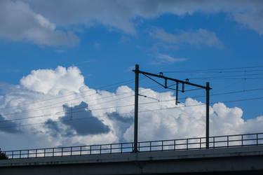 Train bridge on highway carshot by ISOStock