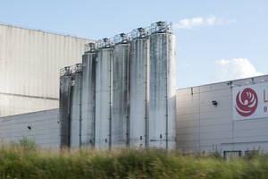 Highway industrial complex silos