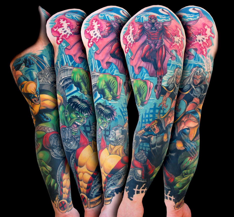 Xmen vs Hulk marvel comic tattoo sleeve by Spifflicate